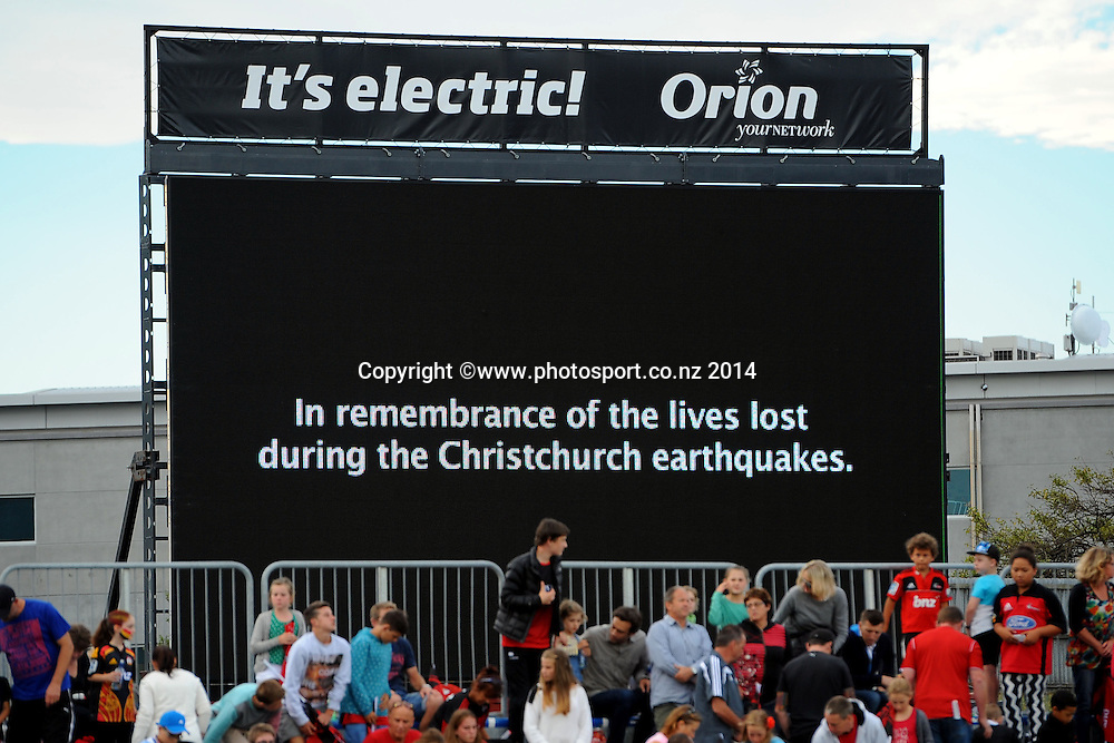 Remembering the 22 of February 2011 earthquake during the Super 15 rugby game Crusaders v Chiefs. AMI Stadium, Christchurch, New Zealand. Friday 21 February 2014. Photo: Chris Symes/www.photosport.co.nz