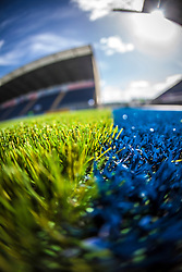Picture of The Falkirk Stadium's new pitch, for the Scottish Championship game v Hamilton. The woven GreenFields MX synthetic turf and the surface has been specifically designed for football with 50mm tufts compared with the longer 65mm which has been used for mixed football and rugby uses.  It is fully FFA two star compliant and conforms to rules laid out by the SPL and SFL.<br />