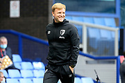 A smiling Bournemouth Manager Eddie Howe before the Premier League match between Everton and Bournemouth at Goodison Park, Liverpool, England on 26 July 2020.