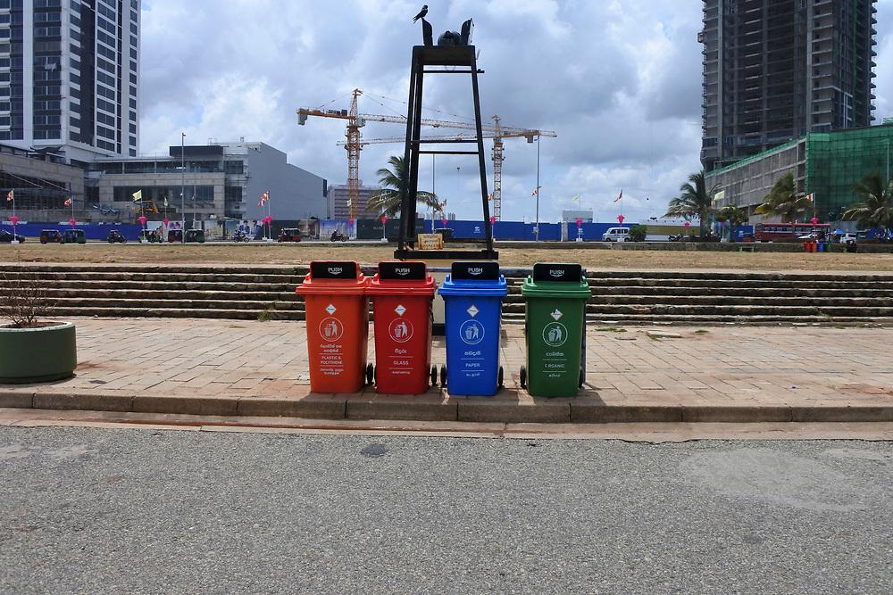Recycling bins on the road side in Sri Lanka