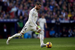 February 9, 2019 - Madrid, Madrid, Spain - Sergio Ramos of Real Madrid during the week 23 of La Liga between Atletico Madrid and Real Madrid at Wanda Metropolitano stadium on February 09 2019, in Madrid, Spain. (Credit Image: © Jose Breton/NurPhoto via ZUMA Press)