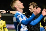 Voetbal Leeuwarden Eredivisie 2014-2015 SC Cambuur - PEC Zwolle: L-R Scheidsrechter Martin van den Kerkhof wijst na de penaltystip