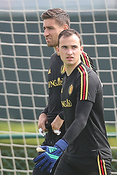 May 31, 2018 - Tubize, BELGIUM - Belgium's goalkeeper Koen Casteels and Belgium's goalkeeper Jens Teunckens arrive for a training session of the Belgian national soccer team Red Devils, Thursday 31 May 2018, in Tubize. The Red Devils started their preparations for the upcoming FIFA World Cup 2018 in Russia. BELGA PHOTO BRUNO FAHY (Credit Image: © Bruno Fahy/Belga via ZUMA Press)