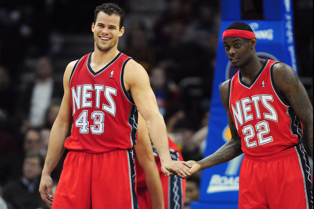 March 23, 2010; Cleveland, OH, USA; New Jersey Nets power forward Kris Humphries (43) talks with teammate shooting guard Anthony Morrow (22) during the third quarter at Quicken Loans Arena. The Nets beat the Cavaliers 98-94 in overtime. Mandatory Credit: Jason Miller-US PRESSWIRE