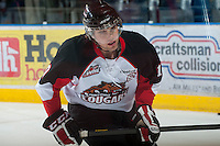 KELOWNA, CANADA - NOVEMBER 3:  Brock Hirsche #10 of the  Prince George Cougars warms up on the ice at the Kelowna Rockets on November 3, 2012 at Prospera Place in Kelowna, British Columbia, Canada (Photo by Marissa Baecker/Shoot the Breeze) *** Local Caption ***