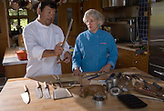 Cindy Pawlcyn and Ken Tominaga with tools of their trades that will be used for sushi and fish prepartion in their new Napa Valley restaurant called Go Fish. Shot in Cindy's home kitchen in St. Helena, CA.