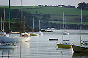 Boats in harbour at Helford Estuary, Cornwall, United Kingdom.