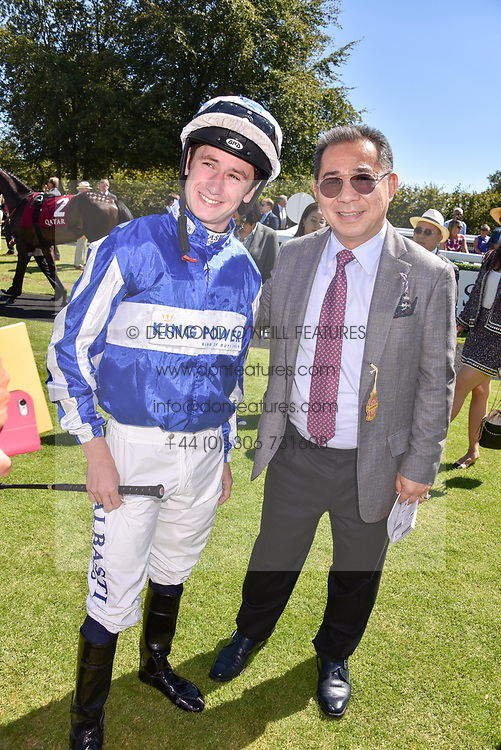 Jockey Oisin Murphy and Vichai Srivaddhanaprabha owner of Leicester City FC at the Qatar Goodwood Festival - Glorious Goodwood, Goodwood Racecourse, West Sussex 02 August 2018.