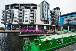 Fountainbridge canal-side property development in Edinburgh, Scotland, United Kingdom.