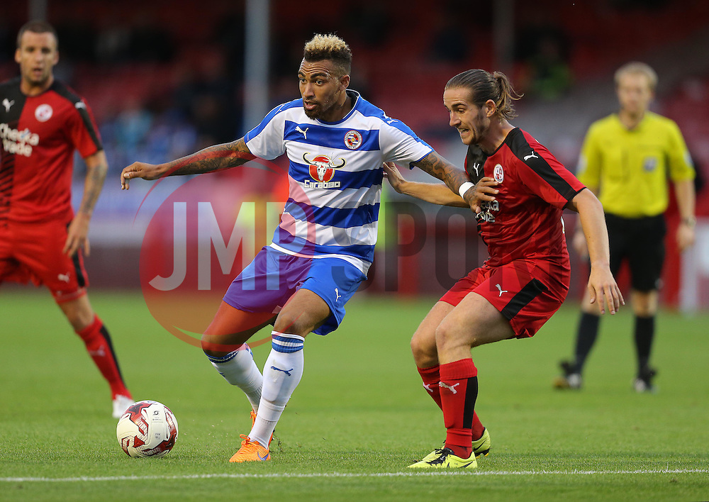 Danny Williams of Reading is challenged by Luke Rooney of Crawley Town - Mandatory by-line: Paul Terry/JMP - 07966386802 - 27/07/2015 - SPORT - FOOTBALL - Crawley,England - Broadfield Stadium - Crawley Town v Reading - Pre-Season Friendly