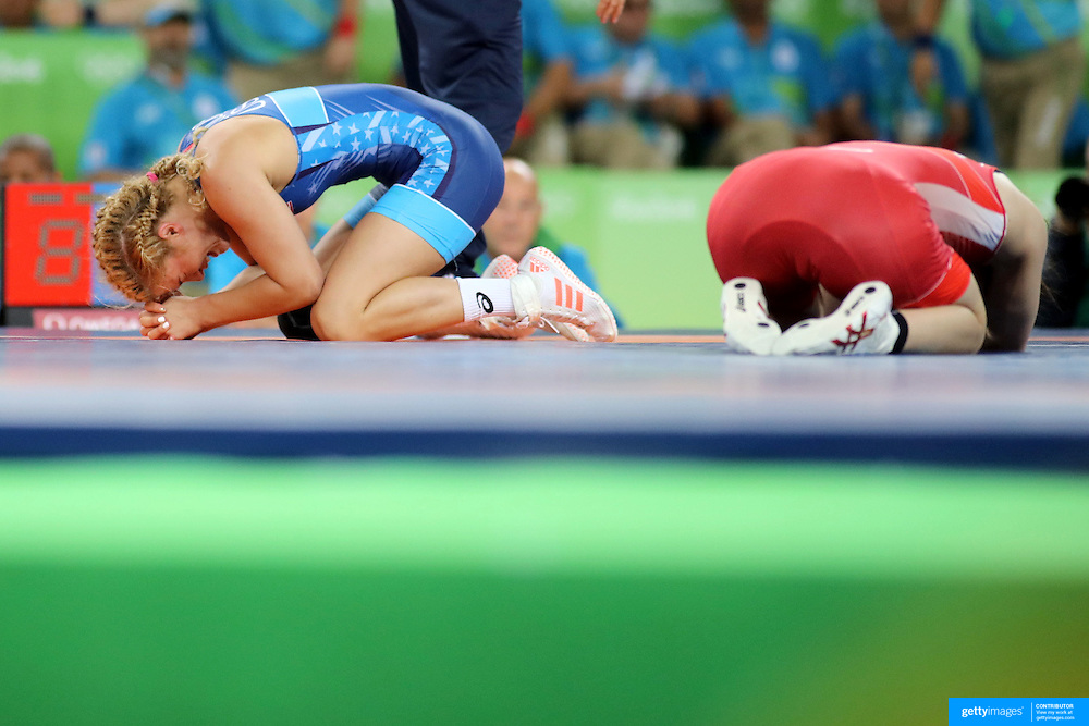 Wrestling - Olympics: Day 13   Helen Louise Maroulis of the United States reacts after winning the Gold Medal against Saori Yoshida of Japan in the  Women's Freestyle 53 kg FinalWrestling match at the Carioca Arena 2 on August 18, 2016 in Rio de Janeiro, Brazil. (Photo by Tim Clayton/Corbis via Getty Images)