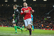 Wayne Rooney of Manchester United misses a chance during the Barclays Premier League match between Manchester United and Stoke City at Old Trafford, Manchester, England on 2 February 2016. Photo by Phil Duncan.