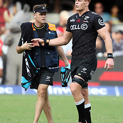 Deane Macquet (Physiotherapist) of the Cell C Sharks with Philip van der Walt (captain) of the Cell C Sharks during the Super Rugby match between the Cell C Sharks and the Western Force at Growthpoint Kings Park on May 06, 2017 in Durban, South Africa. (Photo by Steve Haag)