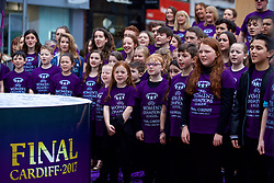 CARDIFF, ENGLAND - Tuesday, February 21, 2017: North Wales choir Cor Glanaethwy sing the Champions League anthem The Prayer at the Hayes, Cardiff, to promote the men's and women's UEFA Champions League Finals being staged in Cardiff this June. (Pic by Paul Greenwood/Propaganda)