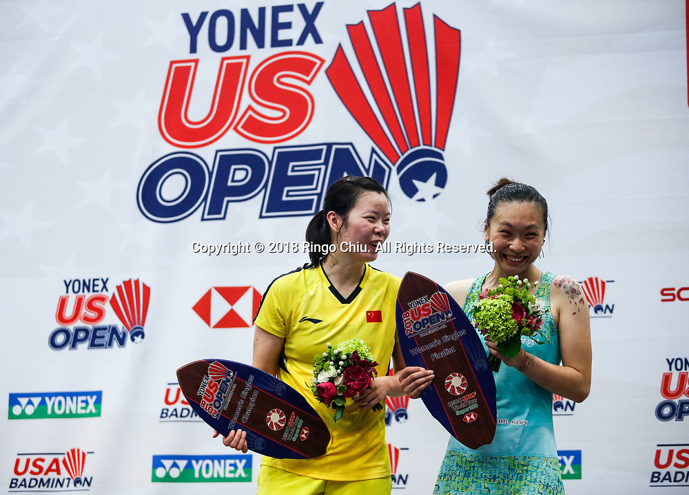 Li Xuerui (L) of China, and Beiwen Zhang of USA, pose in the podium after the women's singles final match at the U.S. Open Badminton Championships in Fullerton, California on June 17, 2018. Li won 2-1. (Photo by Ringo Chiu)<br /> <br /> Usage Notes: This content is intended for editorial use only. For other uses, additional clearances may be required.