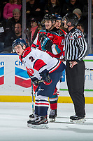 KELOWNA, CANADA - NOVEMBER 17: Calen Addison #2 of the Lethbridge Hurricanes looks to the bench as he lines up in front of Jack Cowell #8 of the Kelowna Rockets on November 17, 2017 at Prospera Place in Kelowna, British Columbia, Canada.  (Photo by Marissa Baecker/Shoot the Breeze)  *** Local Caption ***
