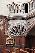 Detail of the rood screen, 1616, from where the Gospel and the Epistles are preached, donated by Marie de Gonzague of the Guise Lorraine family, between the nave and the chancel of the Basilica of Liesse Notre Dame, built 1134 in Flamboyant Gothic style by the Chevaliers d'Eppes, then rebuilt in 1384 and enlarged in 1480 and again in the 19th century, Liesse-Notre-Dame, Laon, Picardy, France. Pilgrims flock here to worship the Black Virgin, based on Ismeria, the Soudanese daughter of the sultan of Cairo El-Afdhal, who saved the lives of French knights during the Crusades, converted to christianity and married Robert d'Eppes, son of Guillaume II of France. Picture by Manuel Cohen