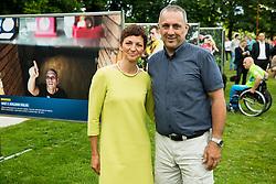 Maja Makovec Brencic and Damijan Lazar at Opening of photo exhibition of Slovenian Paralympic Athletes before Rio 2016, on July 14, 2016 in Arboretum Volcji potok, Slovenia. Photo by Vid Ponikvar / Sportida