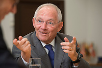 16 NOV 2016, BERLIN/GERMANY:<br /> Wolfgang Schaeuble, CDU, Federal Minister of Finance, during an Interview, in his office, Federal Ministy of Finance<br /> Wolfgang Schaeuble, CDU, CDU, Bundesfinanzminister, waehrend einem Interview, in seinem Buero, Bundesministerium der Finanzen<br /> IMAGE: 20161116-02-021<br /> KEYWORDS: Wolfgang Schäuble, Büro