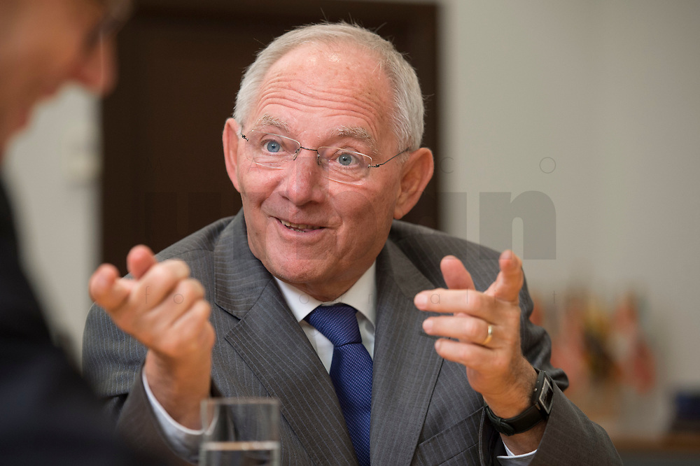 16 NOV 2016, BERLIN/GERMANY:<br /> Wolfgang Schaeuble, CDU, Federal Minister of Finance, during an Interview, in his office, Federal Ministy of Finance<br /> Wolfgang Schaeuble, CDU, CDU, Bundesfinanzminister, waehrend einem Interview, in seinem Buero, Bundesministerium der Finanzen<br /> IMAGE: 20161116-02-021<br /> KEYWORDS: Wolfgang Schäuble, Büro