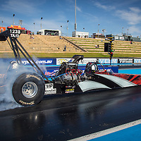 Aaron Deery (1228) doing a burnout in his Top Alcohol Dragster at the Perth Motorplex.
