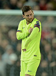 MANCHESTER, ENGLAND - Thursday, April 11, 2019: Barcelona's captain Lionel Messi adjusts his captain's armband during the UEFA Champions League Quarter-Final 1st Leg match between Manchester United FC and FC Barcelona at Old Trafford. Barcelona won 1-0. (Pic by David Rawcliffe/Propaganda)