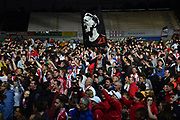 Exeter City invade the pitch to celebrate at full time the 3-1 win over Lincoln City which takes Exeter to Wembley for the League 2 play-off final during the EFL Sky Bet League 2 match between Exeter City and Lincoln City at St James' Park, Exeter, England on 17 May 2018. Picture by Graham Hunt.