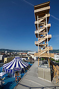 Linz, Austria. HÖHENRAUSCH.3<br /> Die Kunst der Türme (The Art of Towers)<br /> Oberösterreich-Turm (Upper Austria Tower) and Bewegungszirkus (Circus of Movement)