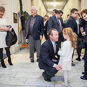 Rep. Josh Gottheimer (D-NJ, 15) talks to his daughter as supporters swarmed his new office on Wednesday January 3, 2017. Rep. Gottheimer was officially sworn into the House of Representatives earlier in the day. John Boal photo/for The Record