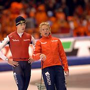 NLD/Heerenveen/20060121 - ISU WK Sprint 2006, Stefan Groothuis en coach Ingrid Paul