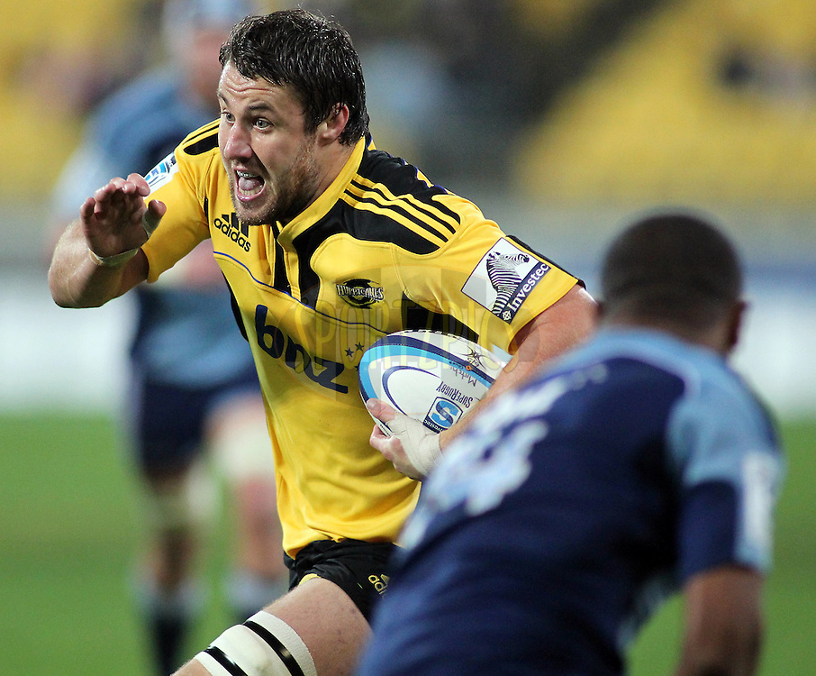 Jeremy Thrush with ball in hand. Super Rugby - Hurricanes v Blues at Westpac Stadium, Wellington, New Zealand on Friday 6th May 2011. PHOTO: Grant Down / photosport.co.nz
