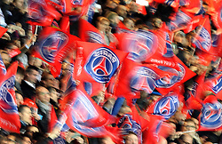 Paris Saint-Germain flags are waved by the crowd - Mandatory by-line: Robbie Stephenson/JMP - 06/04/2016 - FOOTBALL - Parc des Princes - Paris,  - Paris Saint-Germain v Manchester City - UEFA Champions League Quarter Finals First Leg