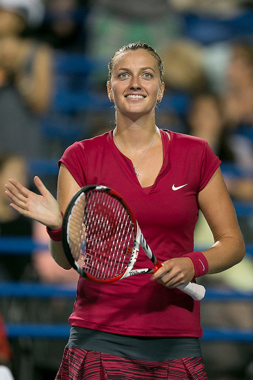 August 22, 2014, New Haven, CT:<br /> Petra Kvitova smiles after defeating Samantha Stosur in the semi-finals on day eight of the 2014 Connecticut Open at the Yale University Tennis Center in New Haven, Connecticut Friday, August 22, 2014.<br /> (Photo by Billie Weiss/Connecticut Open)