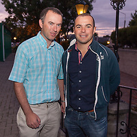 Oliver Fitzpatrick, Secretary of the Clare Soccer League, with former Clare League Manager Liam Murphy at the Oscar Traynor BBQ on Friday night in the West County Hotel
