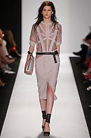 Katlin Aas walks the runway wearing BCBG during Mercedes-Benz Fashion Week in New York City on September 6, 2012