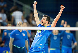 Mitja Gasparini #6 of Slovenia reacts during volleyball match between National teams of Slovenia and France at Final match of 2015 CEV Volleyball European Championship - Men, on October 18, 2015 in Arena Armeec, Sofia, Bulgaria. Photo by Vid Ponikvar / Sportida