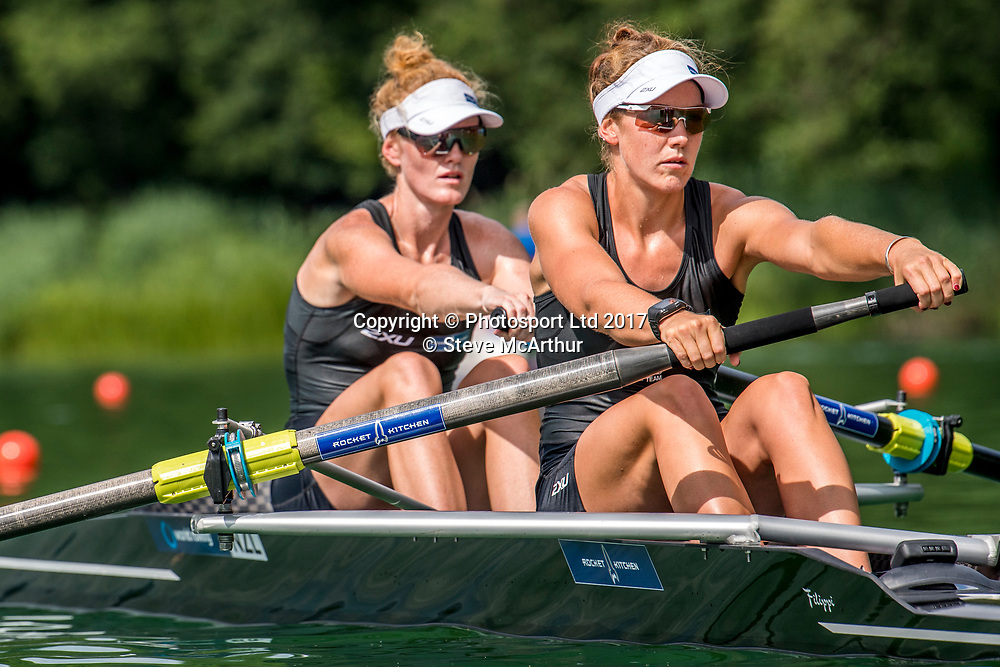 Kerri Gowler (Aramoho Wanganui RC) and Grace Prendergast (Avon RC) NZ Womens Coxless Pair racing the qualification heat at WCIII on the Rotsee, Lucerne, Switzerland, Friday 7th July 2017 © Copyright Steve McArthur / www.photosport.nz