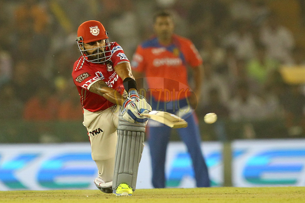 Murali Vijay of Kings XI Punjab hits the ball during match 3 of the Vivo Indian Premier League ( IPL ) 2016 between the Kings XI Punjab and the Gujarat Lions held at the IS Bindra Stadium, Mohali, India on the 11th April 2016Photo by Prashant Bhoot/ IPL/ SPORTZPICS