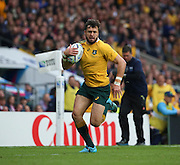 Australia's Adam Ashley-Cooper running in for an Australian try during the Rugby World Cup Quarter Final match between Australia and Scotland at Twickenham, Richmond, United Kingdom on 18 October 2015. Photo by Matthew Redman.