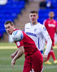 BIRKENHEAD, ENGLAND - Saturday, February 18, 2012: Tranmere Rovers' Ryan Brunt in action against Charlton Athletic during the Football League One match at Prenton Park. (Pic by Vegard Grott/Propaganda)