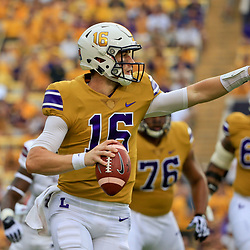 Sep 17, 2016; Baton Rouge, LA, USA;  LSU Tigers quarterback Danny Etling (16) looks to throw against the Mississippi State Bulldogs during the first quarter of a game at Tiger Stadium. Mandatory Credit: Derick E. Hingle-USA TODAY Sports