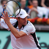 1 June 2009: Andy Roddick of USA eyes the ball as he prepares a forehand during the Men's Single Fourth Round match on day nine of the French Open at Roland Garros in Paris, France.