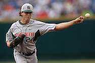 Miami starting pitcher Scott Maine against Oregon State, during the College World Series at Rosenblatt Stadium in Omaha, Nebraska, June 17, 2006.