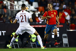 March 23, 2019 - Valencia, Spain - Johnsen of Norway (L) and Sergio Canales of Spain  during European Championship 2020 Qualifying Round match between Spain vs Norway at  Mestalla Stadium on March 23, 2019. (Photo by Jose Miguel Fernandez/NurPhoto) (Credit Image: © Jose Miguel Fernandez/NurPhoto via ZUMA Press)