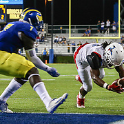 Delaware State Wide receiver BRYCEN ALLEYNE (6) dives into the end zone for the score during a week one game between the Delaware Blue Hens and the Delaware State Hornets, Thursday, Sept. 01, 2016 at Tubby Raymond Field at Delaware Stadium in Newark, DE.