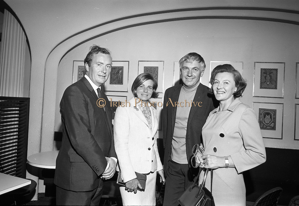 26/07/1967<br /> 07/26/1967<br /> 26 July 1967<br /> Opening of exhibition of paintings by Asgeir Scott at Brown Thomas, Grafton Street, Dublin. London born Scott, designer, illustrator, commercial artist and fashion artist came to Ireland in 1965. Here he devoted himself to a contemporary approach to the visual arts and produced a series of pictures. This collection was displayed in the Social and Personal Restaurant, Brown Thomas Ltd., Grafton Street and the opening was performed by Mr. Ulick O'Connor. Pictured at the opening were (l-r): Mr. John Ryan, Proprietor of the building; Mrs Imogen Stuart; Mr. Ian Stuart, (sculptor) and Mrs Lunia Ryan (South Anne Street).