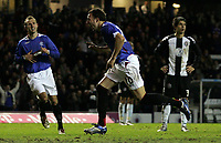 Photo: Paul Thomas.<br /> Glasgow Rangers v Partizan Belgrade. UEFA Cup. 14/12/2006.<br /> <br /> Ranger Alan Hutton (C) runs off to celebrate his goal.