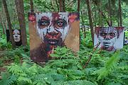 Enjoying the giant artworks in the woods - The 2017 Latitude Festival, Henham Park. Suffolk 15 July 2017