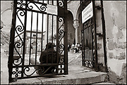 Beggar seated in front of the Cathedral of Cefalù, waiting for tourists to ask for some money. Cefalù, Sicily, Italy