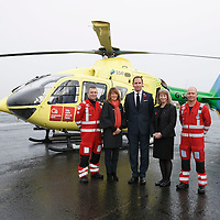 FREE TO USE PHOTOGRAPH....30.10.15<br /> Scotland's Charity Air Ambulance (SCAA) unveiled it's new helicopter at Perth airport this morning a EC135 T2i (pictured) which replaces the Bolkow 105 helicopter which is retiring from service. The new helicopter will increase speed, range, endurance and payload, allow SCAA to fly at night and in cloud. Scottish Health Minister Shona Robison MSP helped unveil the new helicopter, she is pictured with from left, Paramedic Chris Darlington, Helen Page Clydesdale Bank, John Bullough Chairman SCAA and Paramedic John Salmond.<br /> for further info please contact Maureen Young on 07778 779000<br /> Picture by Graeme Hart.<br /> Copyright Perthshire Picture Agency<br /> Tel: 01738 623350  Mobile: 07990 594431